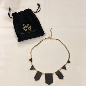House of Harlow 5 station black leather necklace